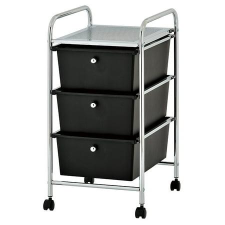 urban shop plastic 3 drawer rolling organizer storage cart multiple colors. Black Bedroom Furniture Sets. Home Design Ideas