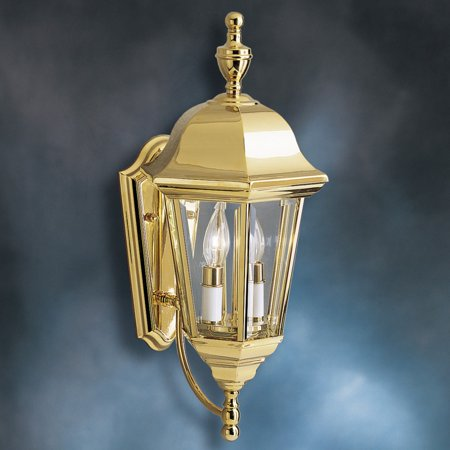Kichler Grove Mill 9439PB Outdoor Wall Lantern - 9.5 in. - Polished Brass Westinghouse Polished Brass Outdoor Fixtures