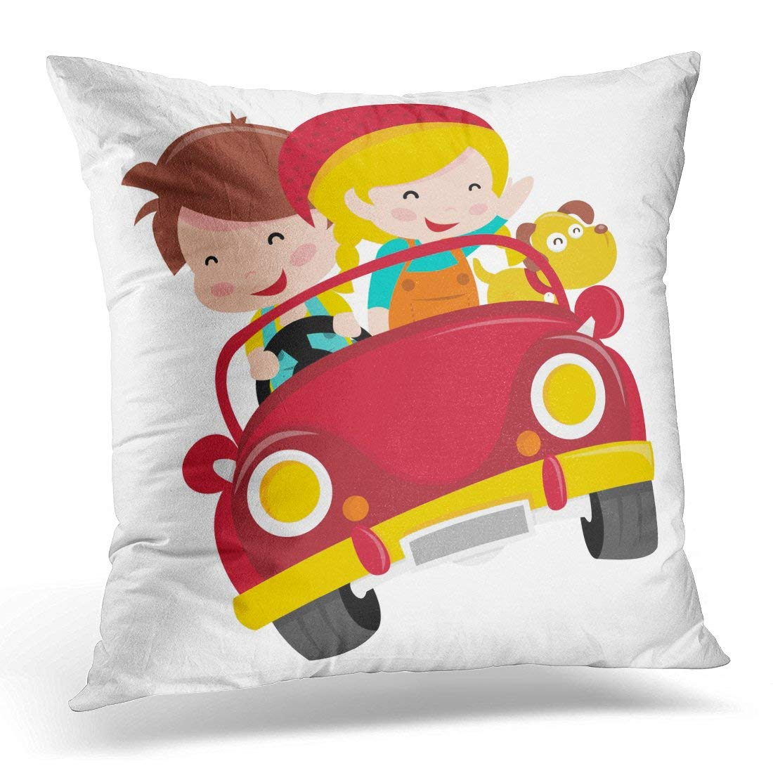 USART Driving Cartoon of Two Happy Kids Boy and Girl Riding Red Convertible Car with Their Pet Dog Travel Pillow Case Pillow Cover 20x20 inch