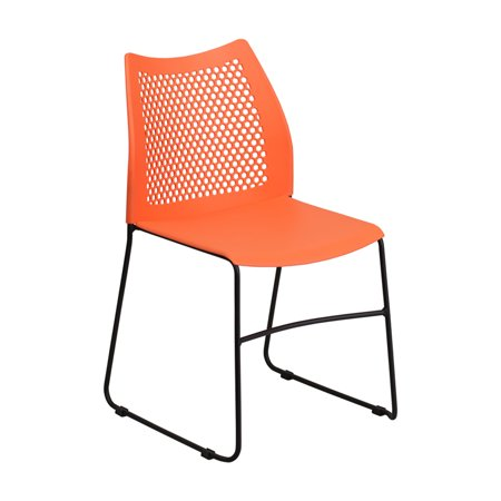 Stacked Base - Offex HERCULES Series 661 lb. Capacity Orange Sled Base Stack Chair with Air-Vent Back [OF-RUT-498A-ORANGE-GG]
