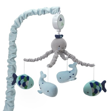 lambs ivy oceania musical baby crib mobile blue gray aquatic