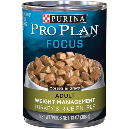 Pro Plan Weight (Purina Pro Plan FOCUS Weight Management Turkey & Rice Entree Morsels in Gravy Adult Wet Dog Food, Twelve (12) 13 oz. Cans )