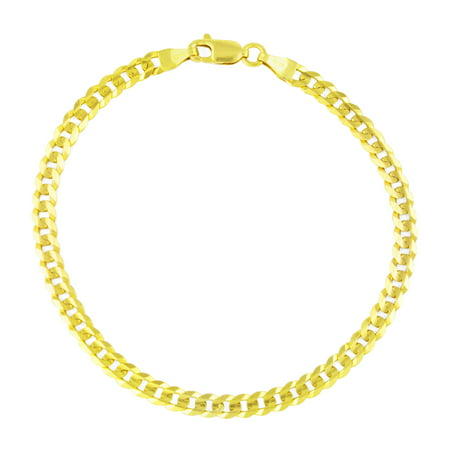 14k Yellow Gold 3.5mm Hollow Cuban Curb Chain Bracelet or Anklet, 7