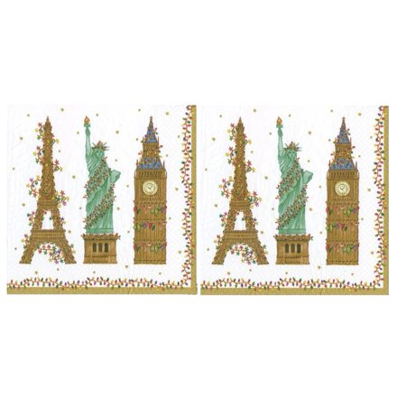 Entertaining with Caspari Cities of Lights White Luncheon Napkin Multicolored 2 Packs of 20