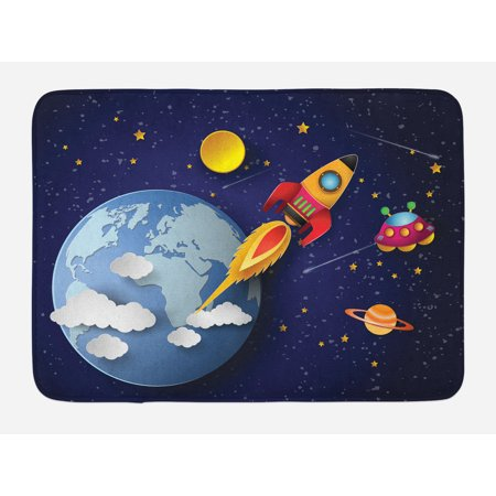 Bath System (Outer Space Bath Mat, Rocket on Planetary System with Earth Stars Ufo Saturn Sun Galaxy Boys Print, Non-Slip Plush Mat Bathroom Kitchen Laundry Room Decor, 29.5 X 17.5 Inches, Multicolor, Ambesonne)