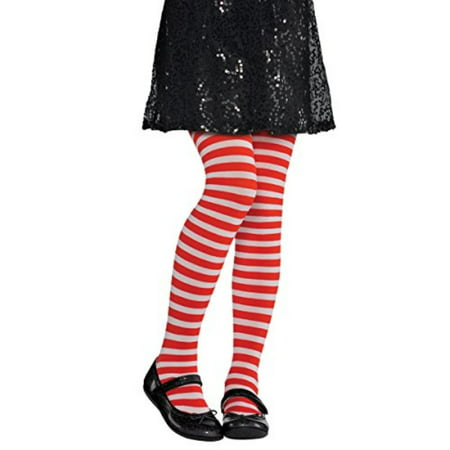 Red And White Striped Tights Child (Red and White Striped Kids Tights - Child)