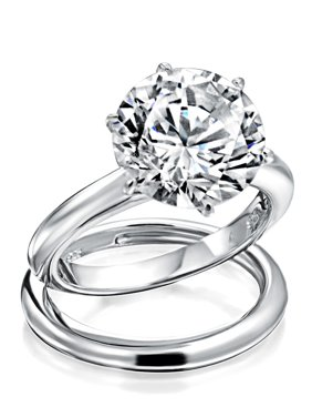 3.5CT Simple Round Solitaire 6 Prong AAA CZ Engagement Wedding Band Ring Set For Women 925 Sterling Silver