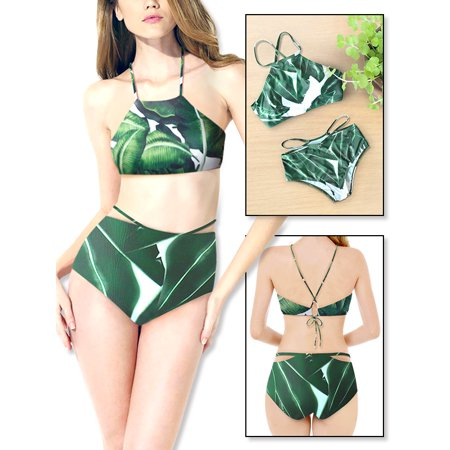 Leaf Bandeau - Two Pieces Sexy Push -up Bikini High Waist Leaf Swimsuit Set,iClover Women's Padded Swimsuit Bikini Bandeau Beachwear Candy Patch Padded Swimwear for Summer Beach Holiday Party,Size S