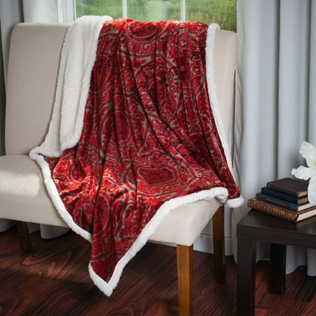 Somerset Home Printed Coral Soft Fleece Sherpa Throw