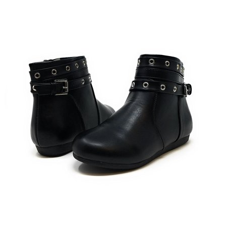 Sara Z Girls Grommet Studded Strap Fashion Flat Ankle Bootie Boots 3 Black/Silver
