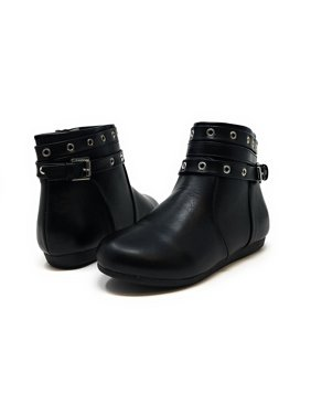 efc96a64438f1 Product Image Sara Z Girls Grommet Studded Strap Fashion Flat Ankle Bootie  Boots 3 Black Silver