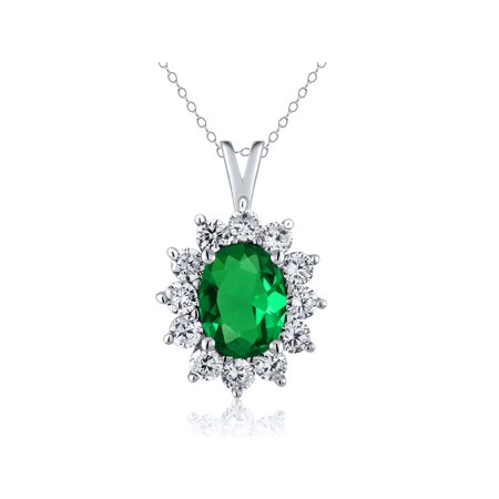 1.60 Ct Oval Green Simulated Emerald 925 Sterling Silver Pendant