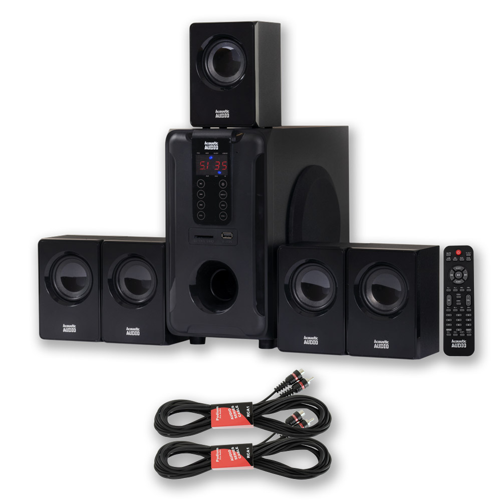 Acoustic Audio AA5105 Home Theater 5.1 Speaker System 700W and 2 Extension Cables AA5105-2