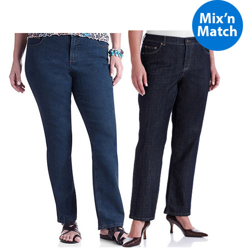 Just My Size Women's Plus-Size Slimming Classic Fit Straight-Leg Jeans With Tummy Control 2 Pack Value Bundle