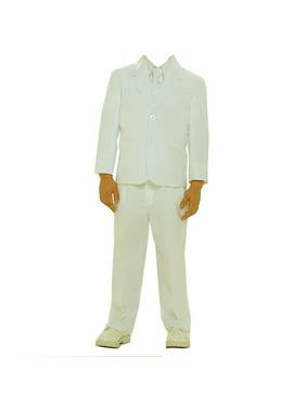 Boys Ivory Single Breasted Jacket Vest Shirt Tie Pants 5 Pc Suit