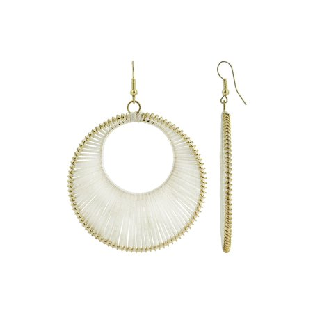 Circle With Ivory Thread And White Beads Dangle Earrings French Ear Wire Findings