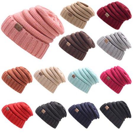 Fashion Women's CC Braided Baggy Beanie Crochet Warm Winter Hat Ski Cap Wool Knitted