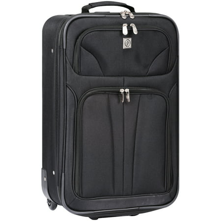 """Protege Monticello Collection 21"""" Upright Black Rolling Suitcase"""