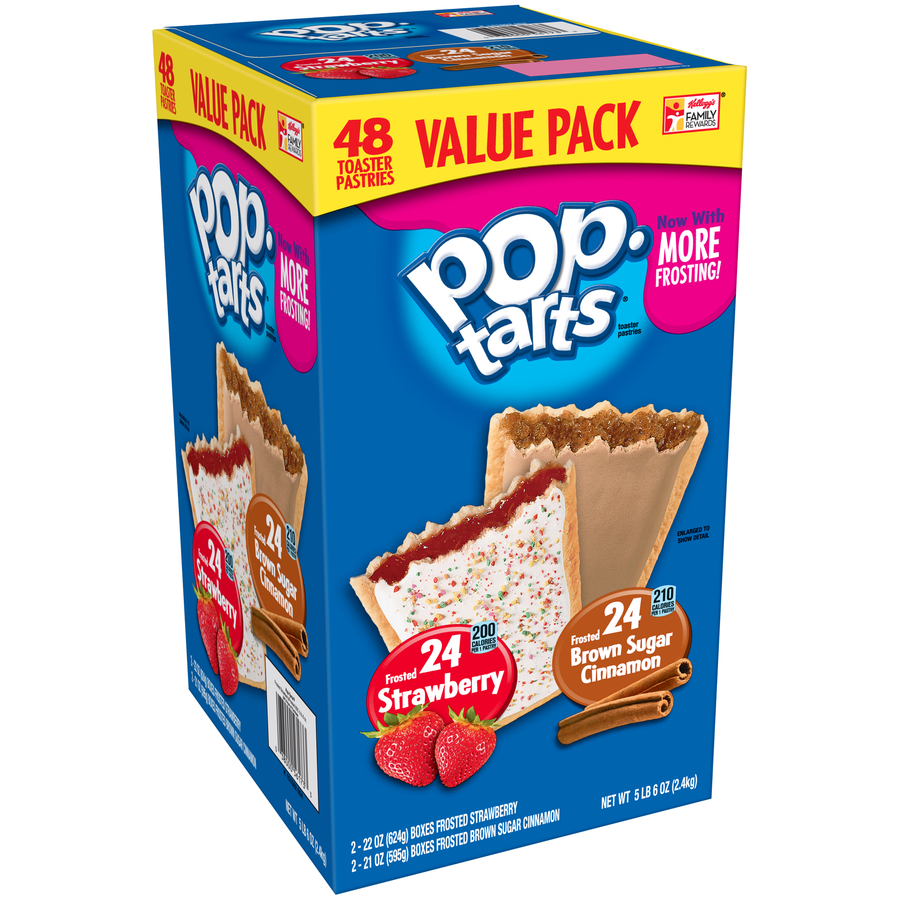 Kellogg's Pop-Tarts, Flavored 48 Ct Variety Pack-Frosted Brown Sugar Cinnamon, Frosted Strawberry