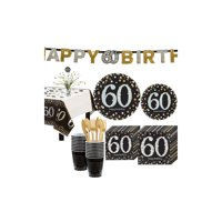 Sparkling Celebration 60th Birthday Party Kit for 16 Guests, 136 Pieces