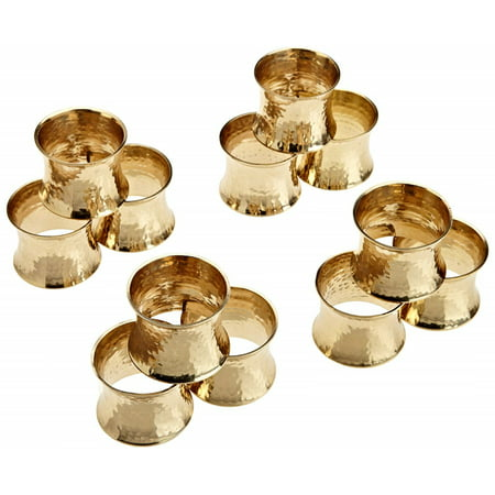 DII Everyday Hammered Napkin Rings, Set of 12, Casted Brass, Multiple