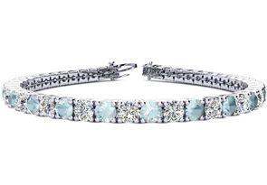 8 Inch 9 1 2 Carat Aquamarine and Diamond Tennis Bracelet In 14K White Gold by