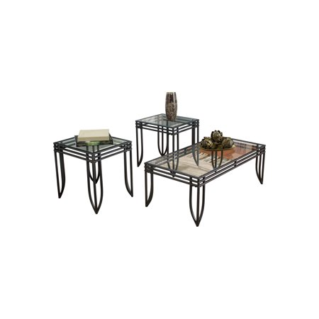 Signature Design by Ashley Exeter Living Room Table Set Living Room Upholstered Table