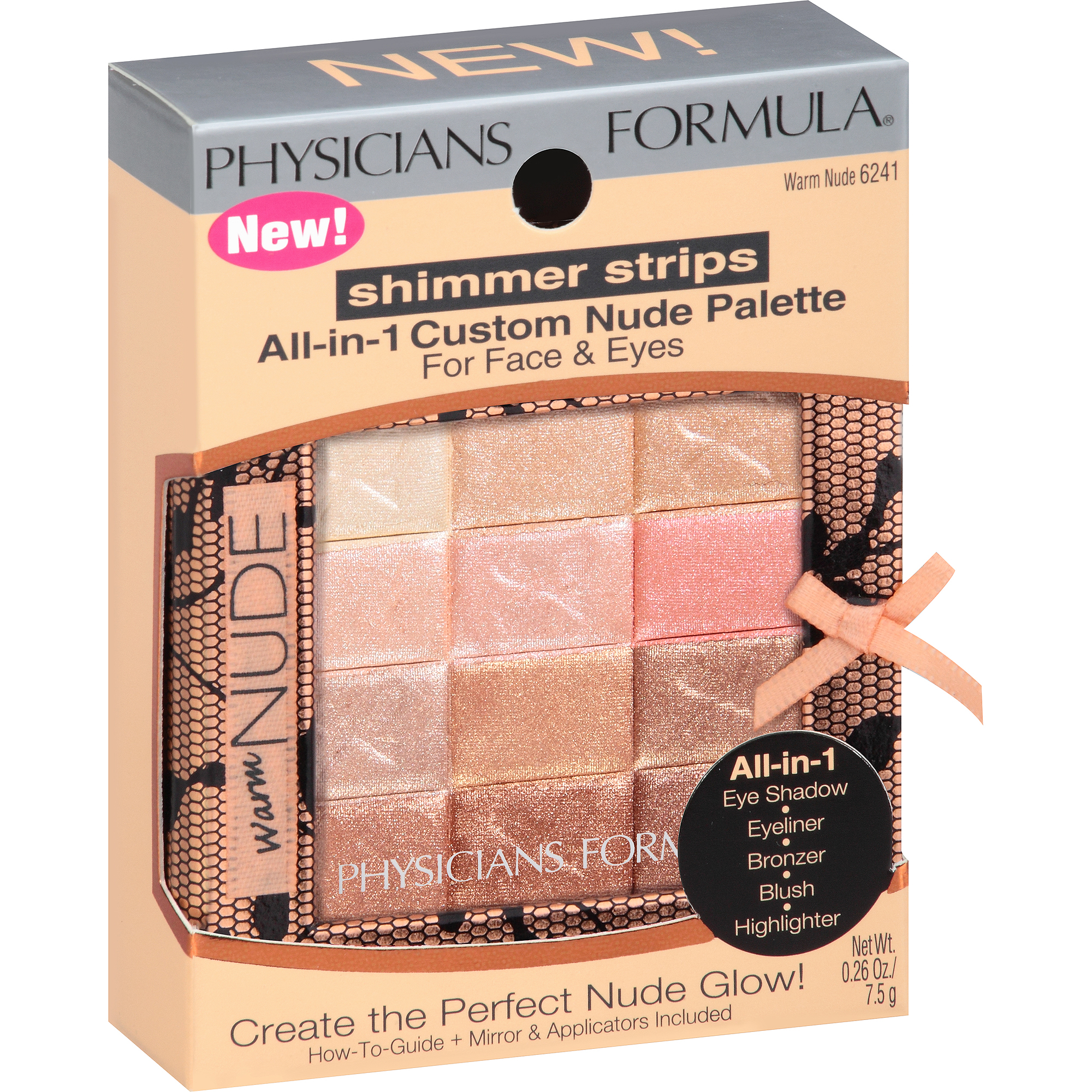 Physicians Formula Shimmer Strips All-in-One Custom Palette for Face & Eyes, 6241 Warm Nude, 0.26 oz