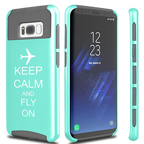 For Samsung Galaxy Shockproof Impact Hard Soft Case Cover Keep Calm And Fly On Airplane (Teal For Samsung Galaxy S8)