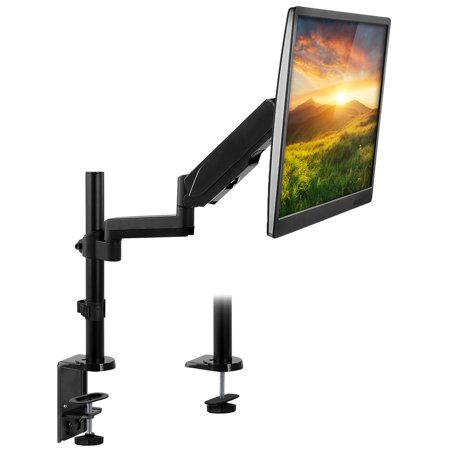 Mount-It! Single Monitor Arm Desk Mount, Height Adjustable Full Motion VESA Riser Stand for Computer Screens 19, 20, 21, 24, 27, 29, 30, 32 Inches Clamp and Grommet - Adjustable Height 20 Monitor