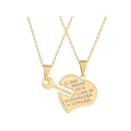 """14k Gold Plated Heart Key Pendant Necklace Love Girls Ladies 19"""""""
