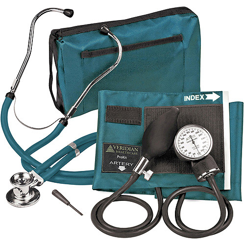 Sterling ProKit Adjustable Aneroid Sphygmomanometer with Sprague Stethoscope, Adult, Teal