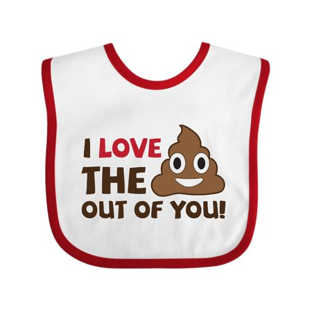 Valentine's Day I love the poop out of you Baby Bib White/Red One