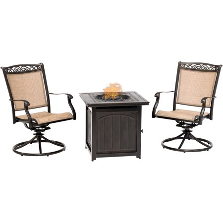 Hanover Fontana 3-Piece Fire Pit Chat Set with 2 Sling Swivel Rockers and a 26-In. Square Fire Pit Side