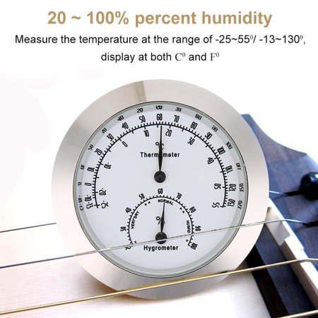 Anauto Round Thermometer Hygrometer Humidity Temperature Meter for Violin Guitar Case Instrument