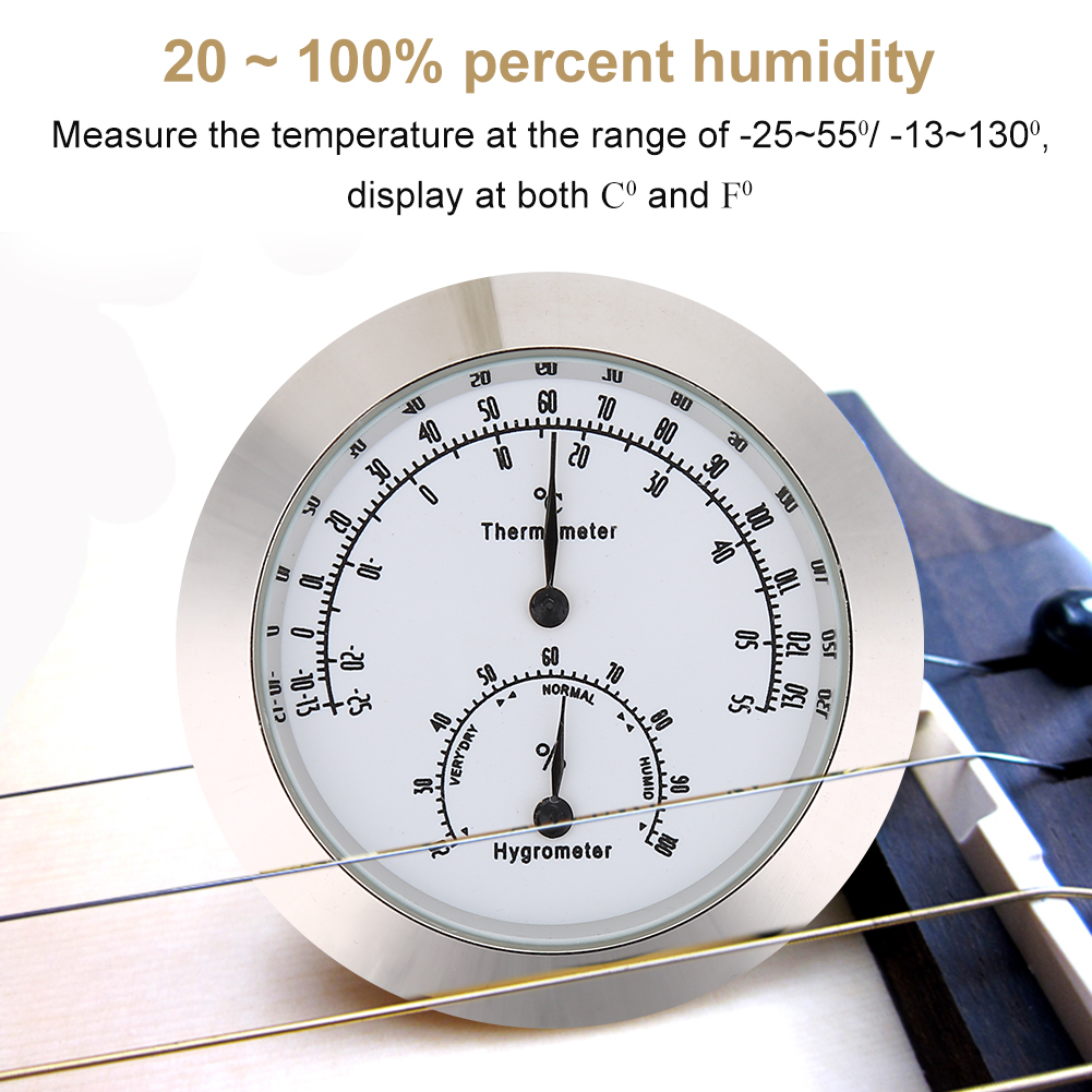 WALFRONT Round Thermometer Hygrometer Humidity Temperature Meter for Violin Guitar Case Instrument Care, Round Humidity Meter, Violin Guitar Thermometer Hygrometer