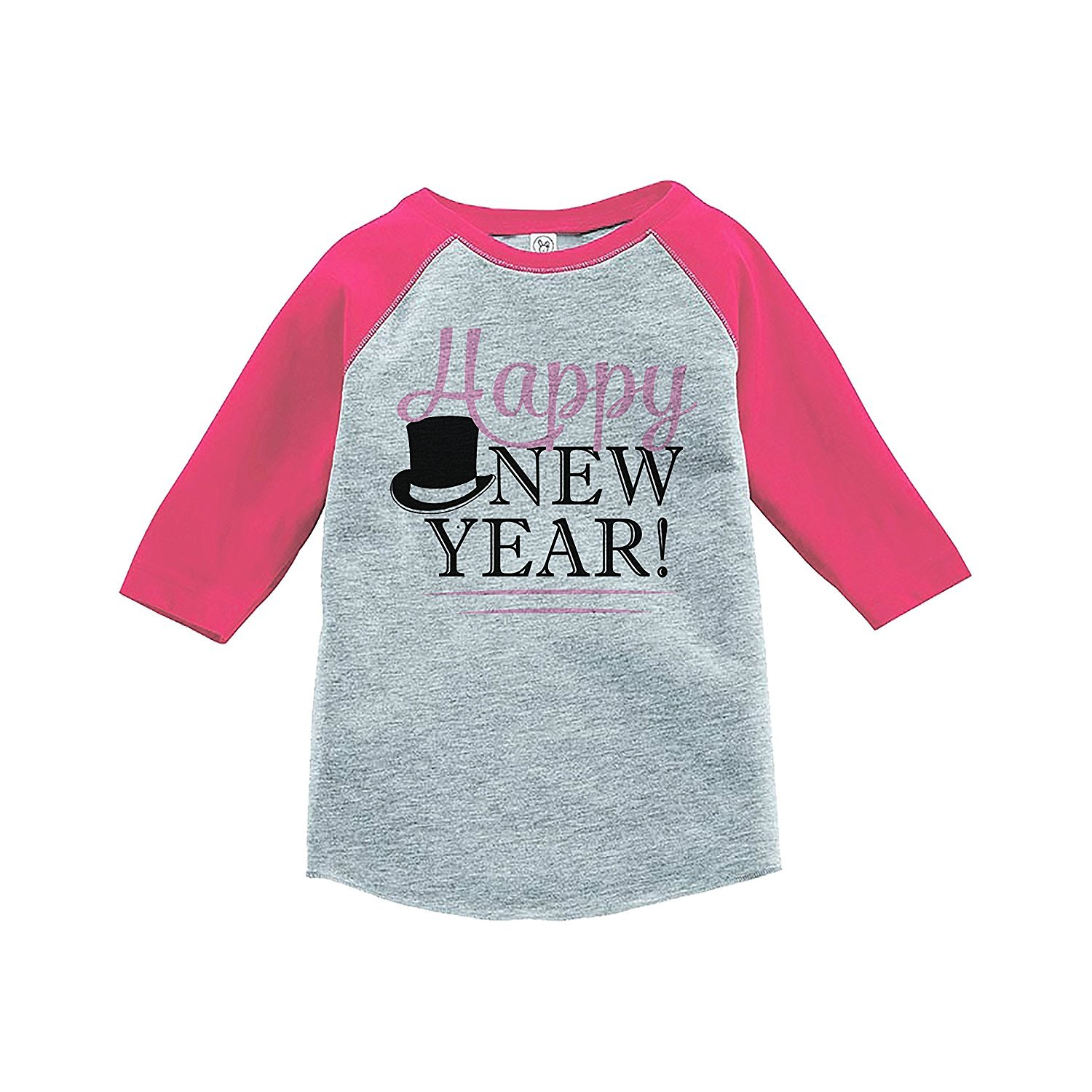 7 ate 9 Apparel Kids Happy New Year's Eve Pink Baseball Tee - 3T
