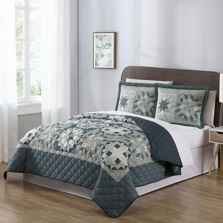 Mainstays Shooting Star Classic Patterned 3 Piece Quilt Set, Grey