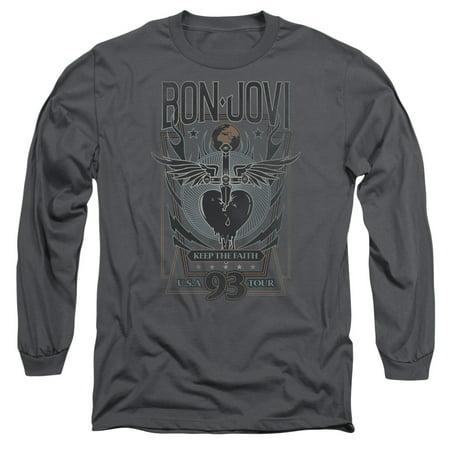 Bon Jovi Halloween Shirt (Bon Jovi Keep The Faith Adult Long Sleeve T-Shirt)