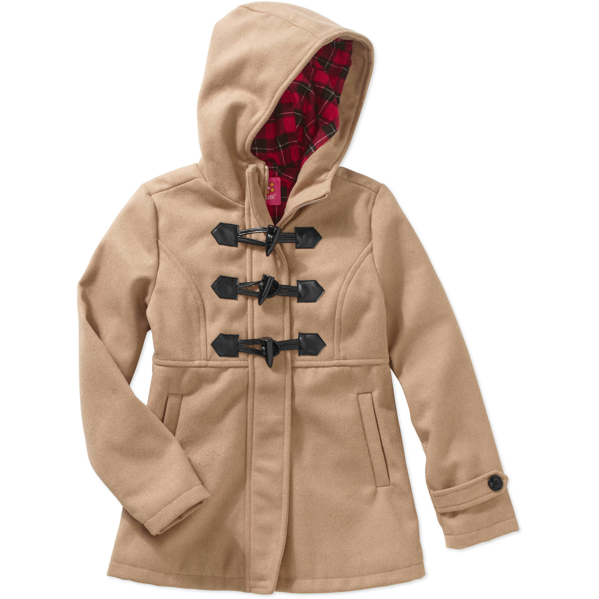 Girls' Wool Coat with Toggles and Plaid Hood Lining