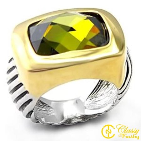Classy Not Trashy® Size 5 Olivine Color Cubic Zirconia Brass Reverse Two Tone Ring