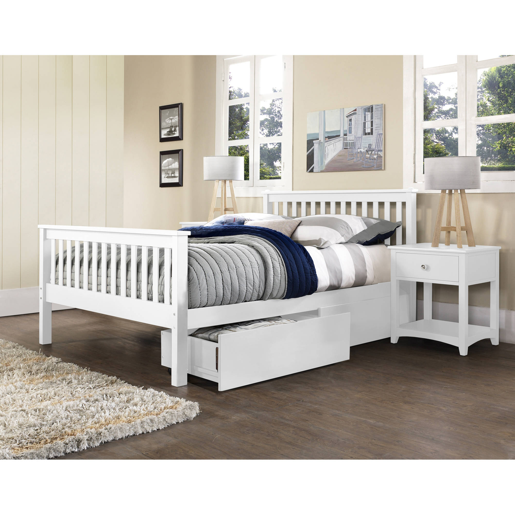 Hillsdale Furniture Barrett Bed with Storage Drawers, Multiple Sizes and Colors