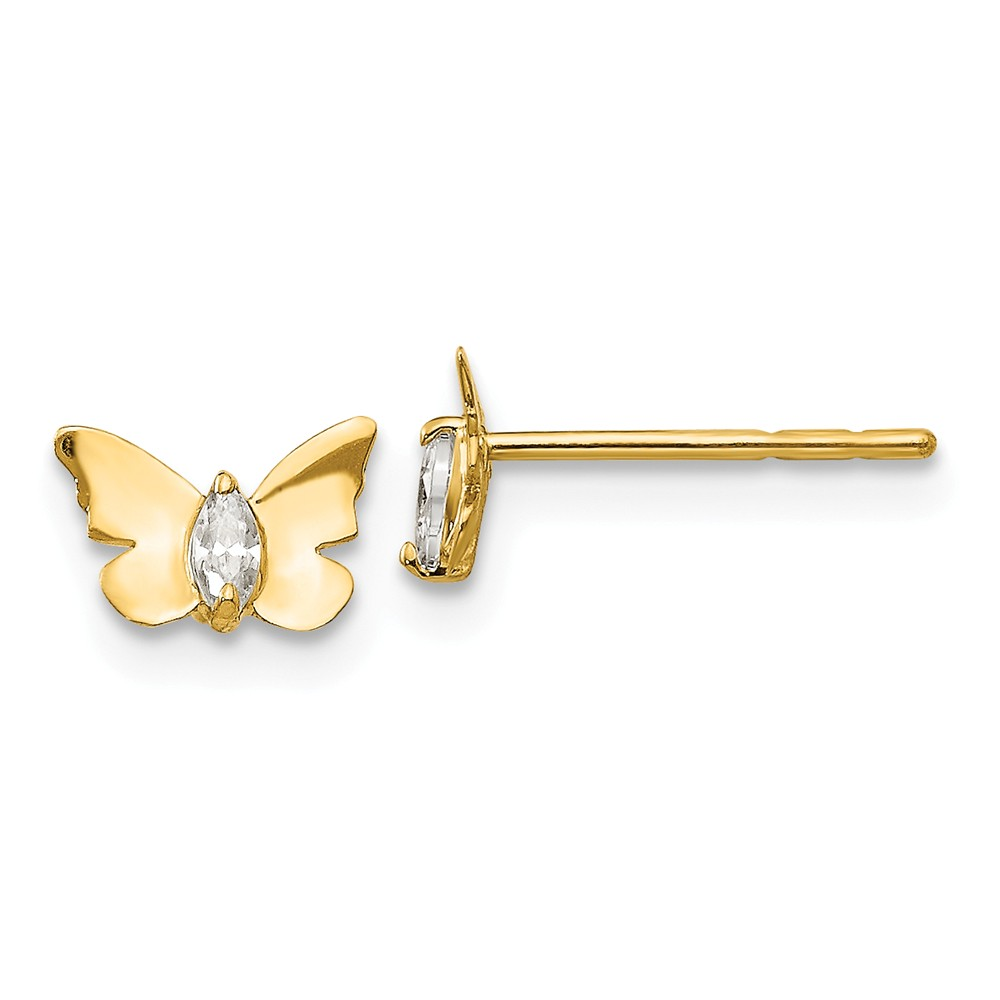 14k Yellow Gold Children's Children's CZ Butterfly Baby Post Earrings. (4.7MM Long x 6.9MM Wide)