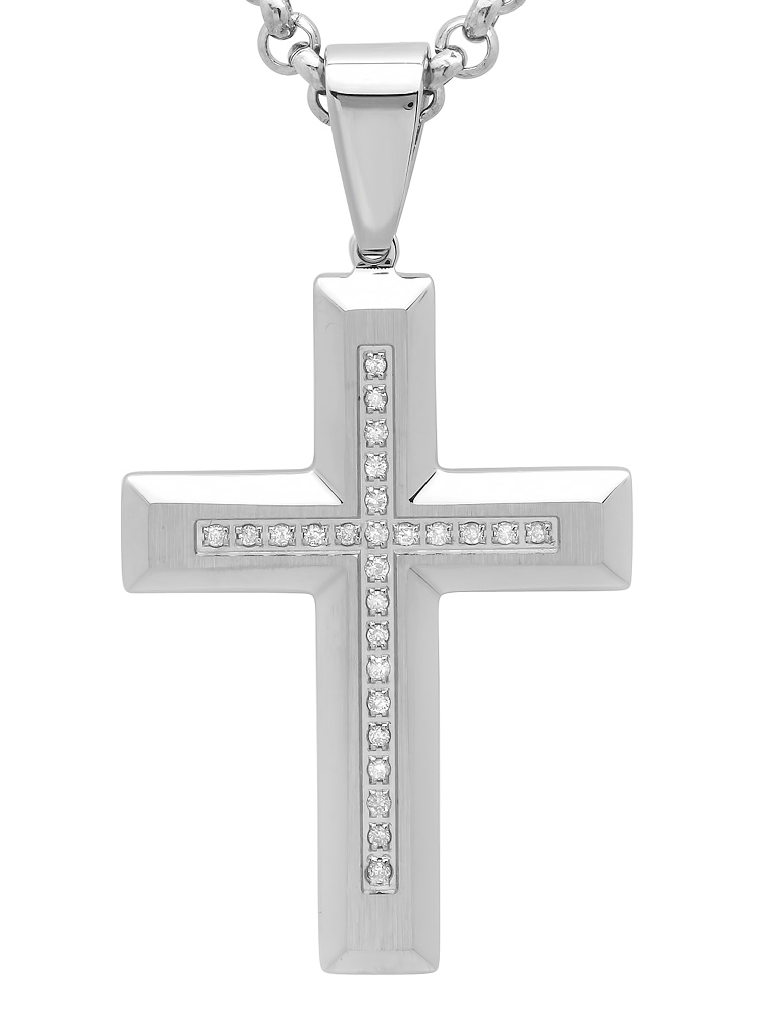 "Men's Stainless Steel Diamond Cross with 24"" Rolo Chain Mens Pendant by C&C JEWELRY MFG INC"