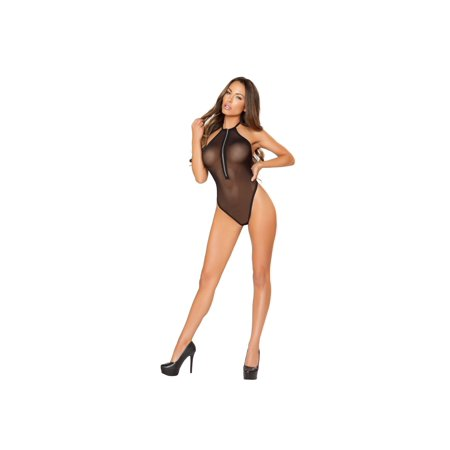 Roma RM-LI150 Sheer Body Suit with Halfway Zip-up Front & Open Back. M/L / - Roma Open Front