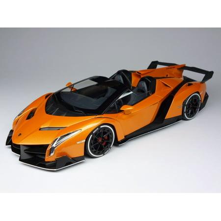 lamborghini veneno roadster orange 118 diecast model car by kyosho