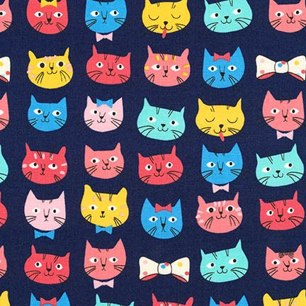 Robert Kaufman Fabrics Whiskers and Tails - Cats and Dogs Navy Cat Faces - Robert Kaufman Halloween Fabric