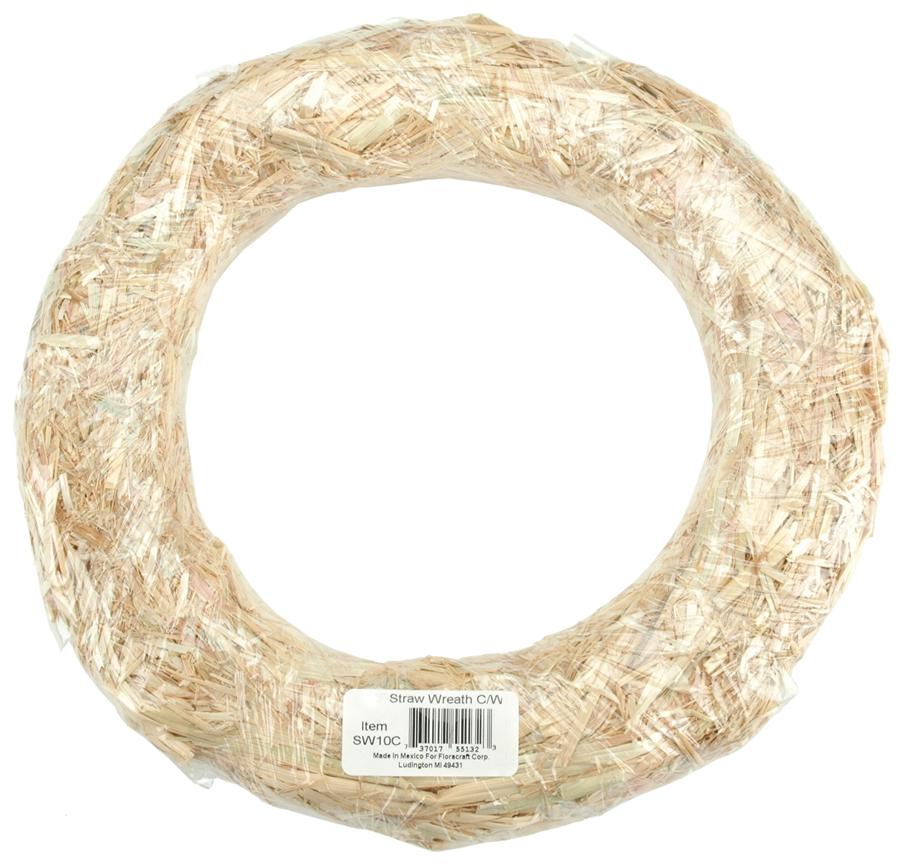 FloraCraft Straw Wreath - Round - Natural - 12 inches
