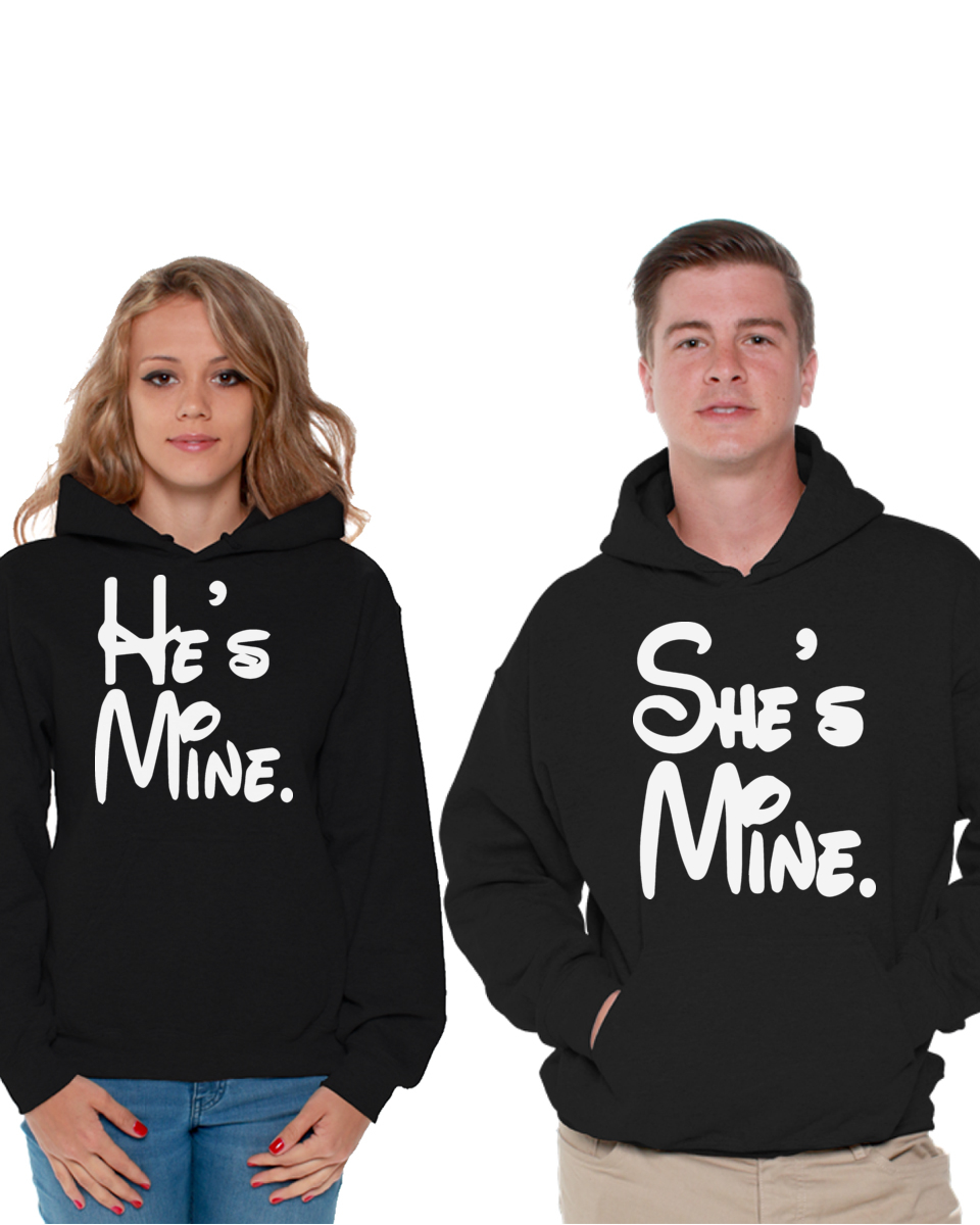 Matching Couple Hoodies His Mine and Shes Mine Couple Hooded Sweatshirt