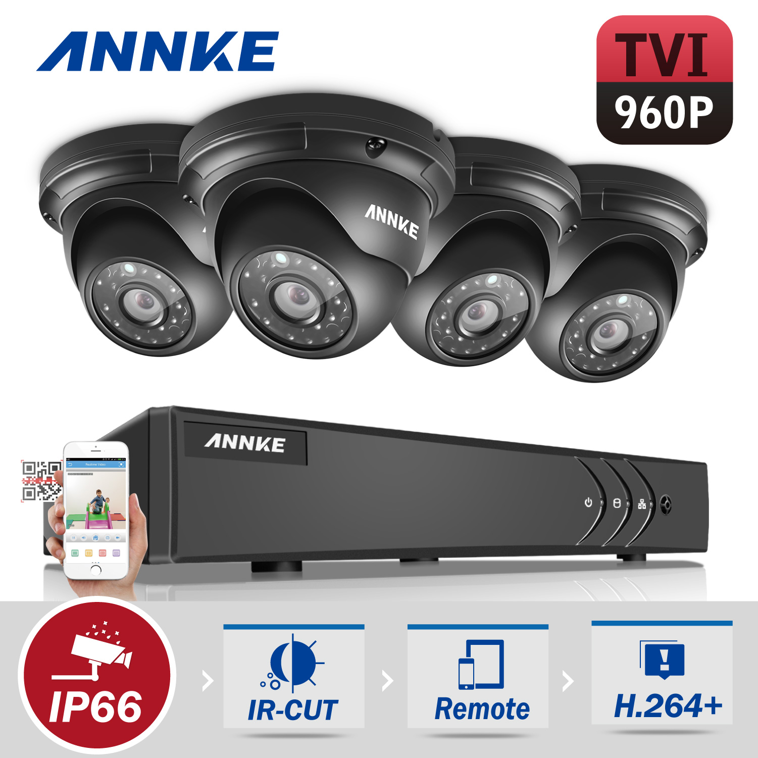 ANNKE HD 1080P 4CH CCTV System Video Recorder DVR 4PCS 960P 1.3MP Surveillance Camera IR CCTV kits for Home Security With NO HDD